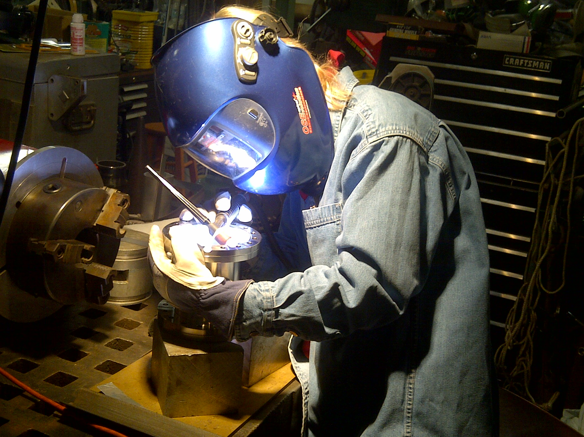 Welding a flange onto a stainless steel vessel
